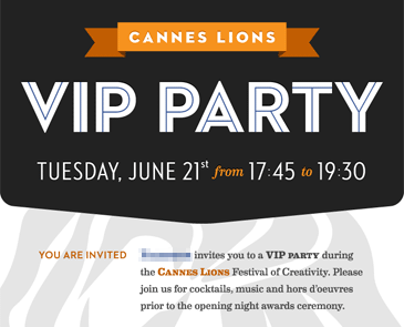Cannes Lions VIP invitation